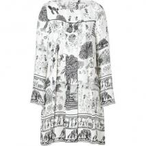 Suno Ivory/Black Sketch Print Long Sleeve Pleated Front Silk Dress