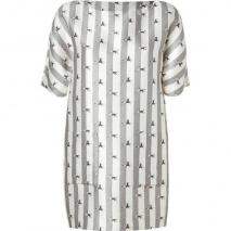 Suno Pearl/Grey Striped Silk-Wool Shift Dress