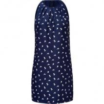 Theory Navy/White Bird Print Silk Halter-Style Dress