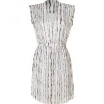 Theyskens Theory Cream Multicolor Print Silk Dress