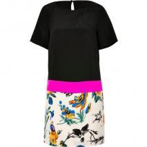 Tibi Black/Pink Chinoiserie Wallpaper Print Silk Dress
