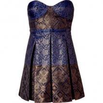 Tibi Blue/Black Vasily Jacquard Strapless Dress