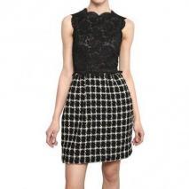 Valentino Baumwoll Spitze Top Woll Tweed Kleid