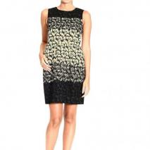 Valentino Sleeveless flocking pattern print dress