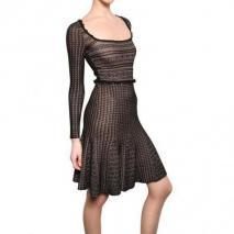 Valentino Viskose Spitze & Woll Jersey Kleid