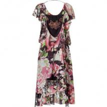 Vanessa Bruno Black Floral Printed Asymmetric Silk Wrap Dress