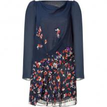 Vanessa Bruno Navy Floral Print Silk Dress