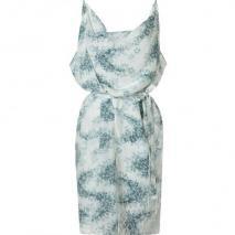 Vanessa Bruno White Green Printed Dress With Belt