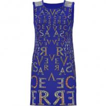 Versace Electric Blue Printed Silk Dress
