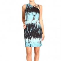 Versace One shoulder jersey laces print dress