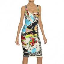 Versace Rock And Roll Bedrucktes Kleid Aus Stretchseide