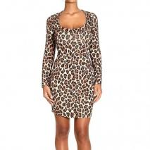 Whos Who Long sleeve spotted viscose dress