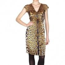 Yves Saint Laurent Leopard Seiden Satin Kleid