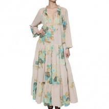 Yvonne S Langes Kleid Aus Biobaumwolle Mit Kordelzug Beige Flowerprint