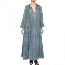 Yvonne S Langes Kleid Aus Biobaumwolle Mit Kordelzug Blau